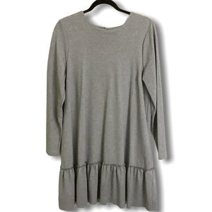 BANANA REPUBLIC Grey Long Sleeve Ruffle Hem Dress